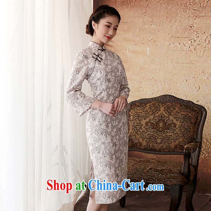 once and for all and elections as soon as possible fatally jealous LOK Ying 2014 spring female new stylish improved cheongsam dress gray 2 XL