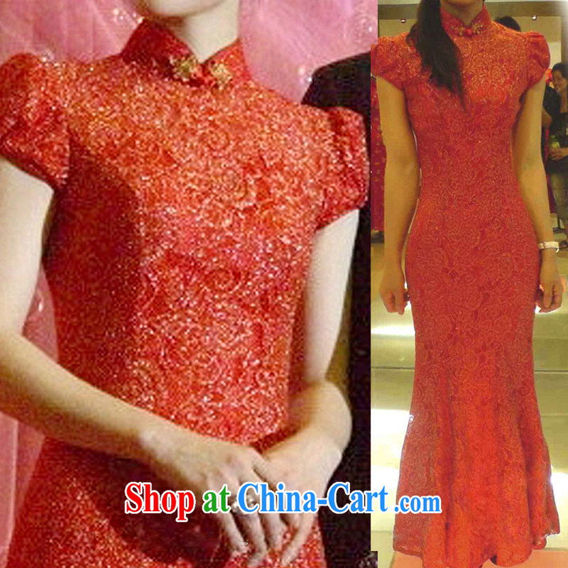 2015 New Gold weaving lace bubble cuff with red outfit low-power's embroidery bridal cheongsam dress Q 097 red tailored
