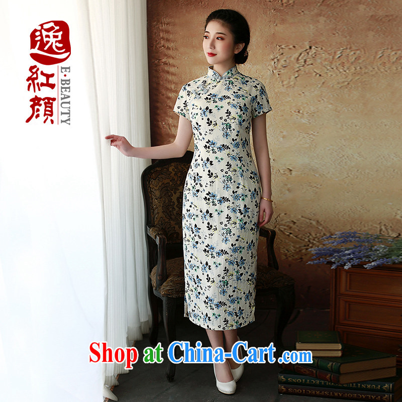 The proverbial hero once and for all -- Joseph Cheong Wa Dae 2015 spring and summer new dresses, improved cotton in the Commission Long cheongsam dress Yi Long 110 blue 2 XL