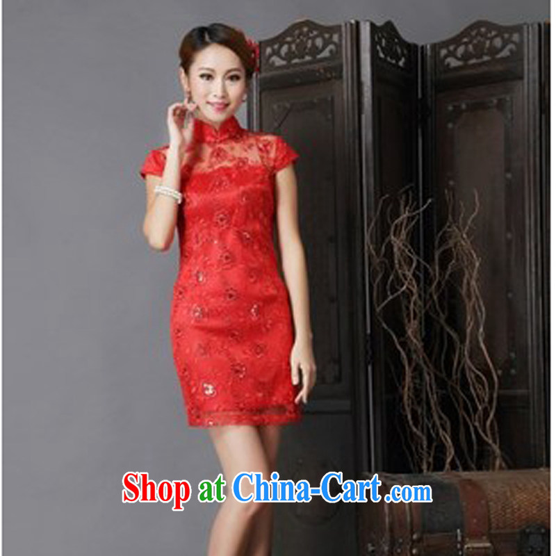 New Show annual meeting wedding dress bridal wedding retro improved red toast clothing cheongsam red XL