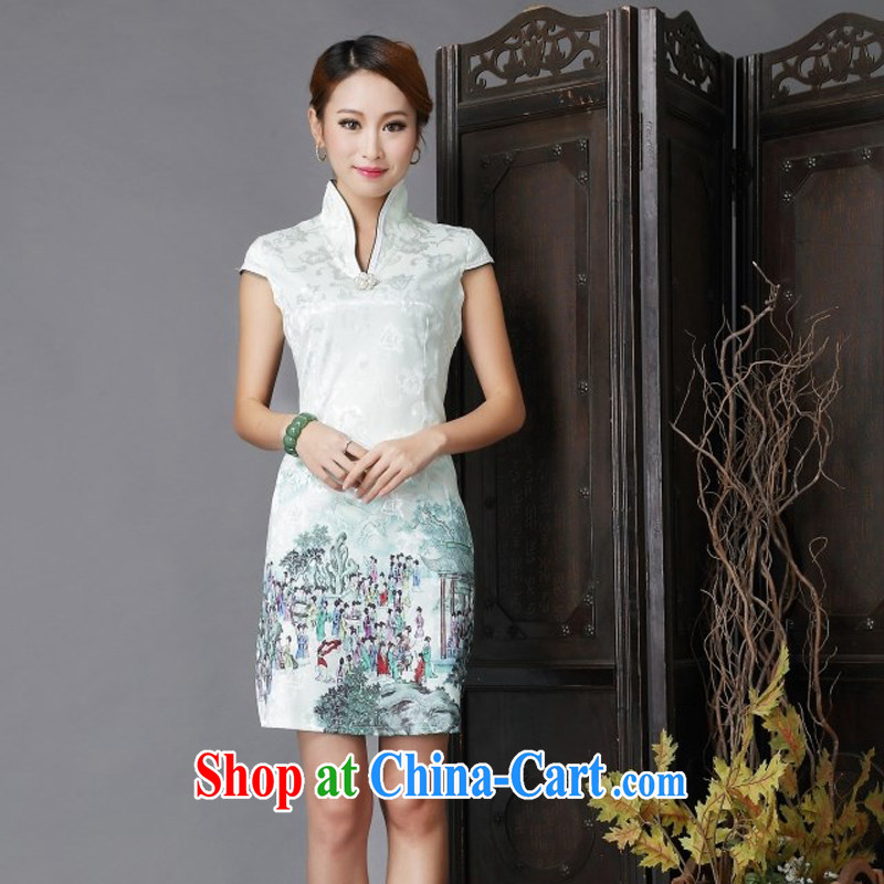 National wind New Tang with stylish and improved Daily Beauty sexy cheongsam dress light green XL