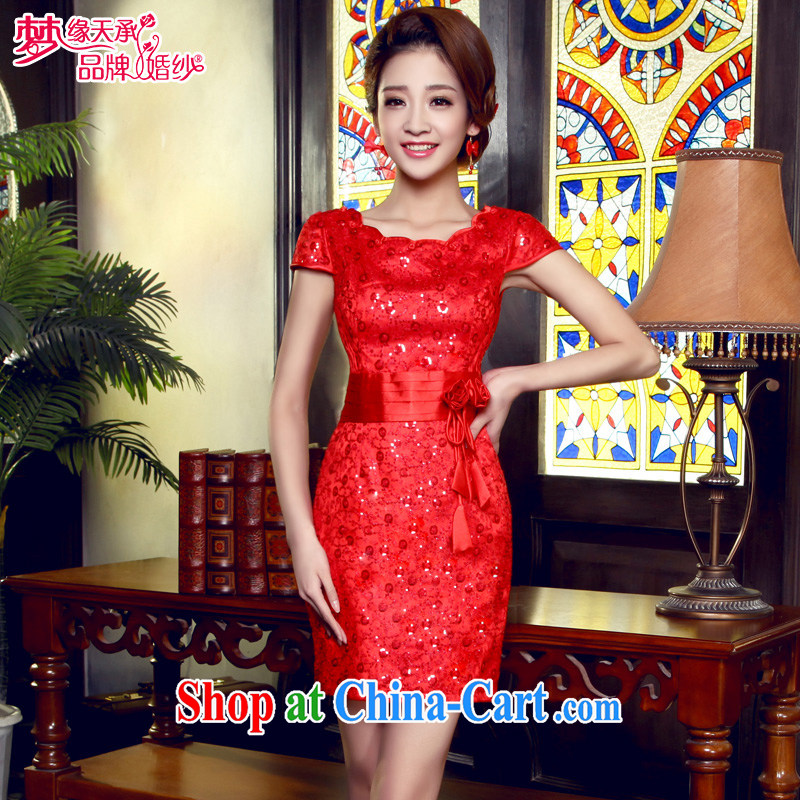 Dream of the day 2015 minimalist red short cheongsam dress elegant beauty marriages improved cheongsam Q 5523 red XXXL 2.4 feet waist