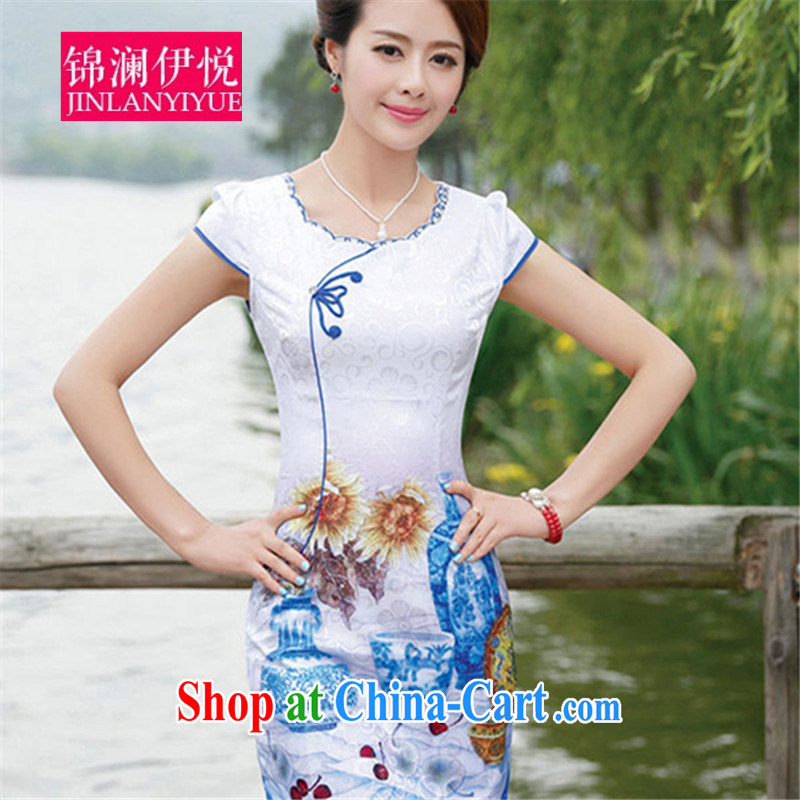 kam world at the blue and white porcelain white blue beauty graphics thin Fan Bing Bing, with Lady aura cheongsam dress short skirt dress dress bridal wedding dress bridesmaid clothing vases flower XXL