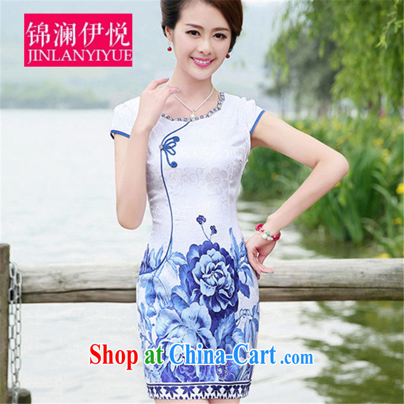 Counters and flagship store blue and white porcelain lady elegant-name aristocratic ladies and fresh style beauty graphics thin dress skirt short skirt cheongsam dress uniforms, take XXL