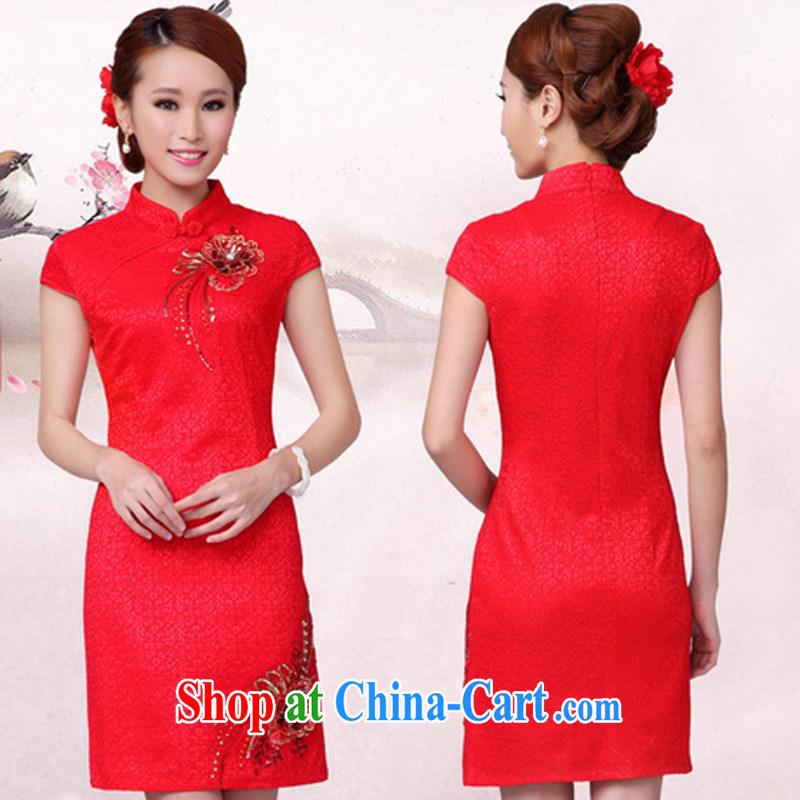 Bridal toast serving red short marriage autumn dresses stylish new dress red XL