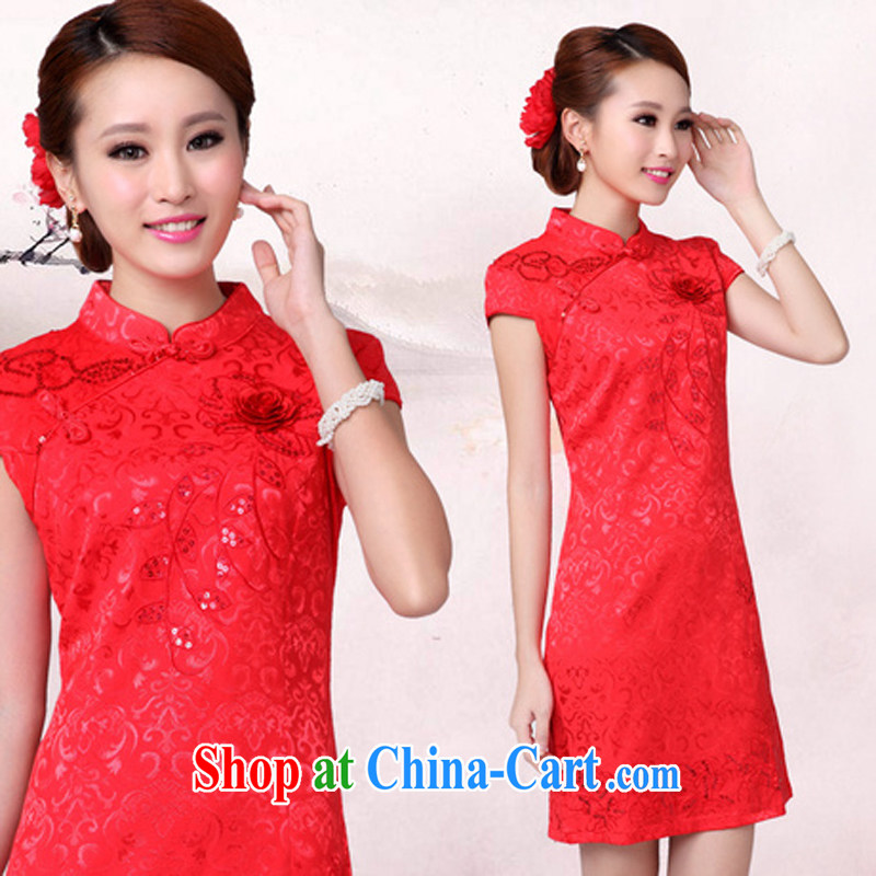 wedding dresses serving toast new summer red wedding dress high collar dress cheongsam red XL