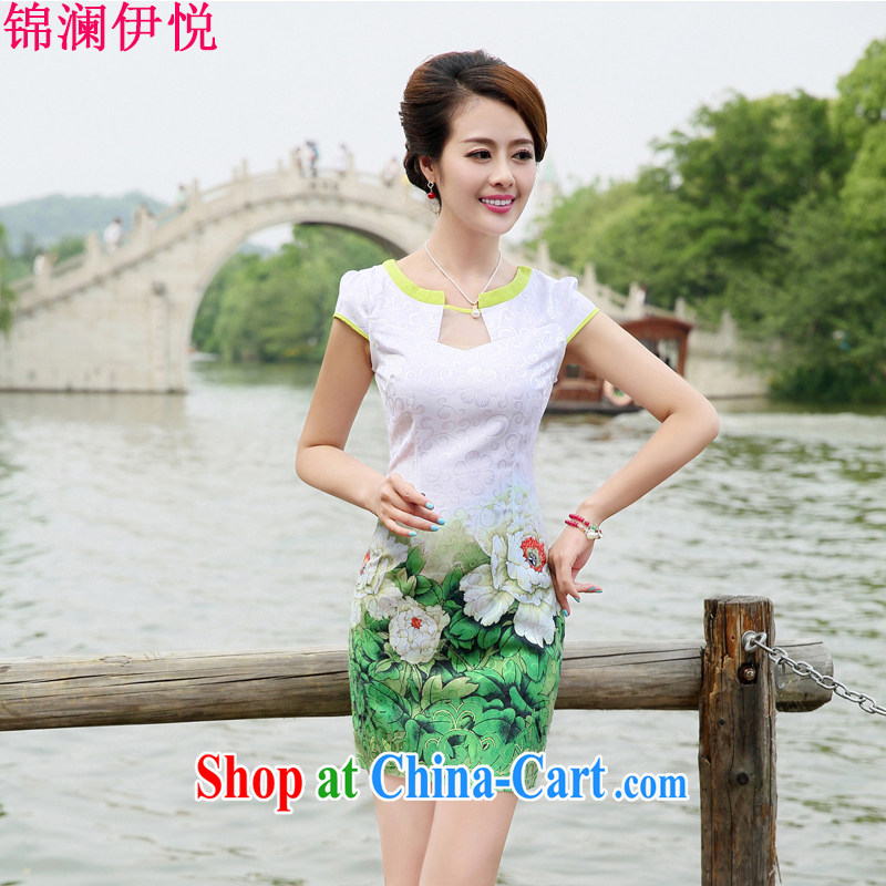 kam world the Hyatt stunning Peony stamp China wind retro beauty graphics thin style dresses skirts dresses improved daily wedding dress light cooked female Green Peony XXL