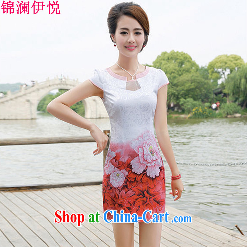kam world the Hyatt stunning Peony stamp China wind retro beauty graphics thin style dresses skirts dresses improved daily wedding dress light cooked female Green Peony XXL, Kam world, Yue, and shopping on the Internet