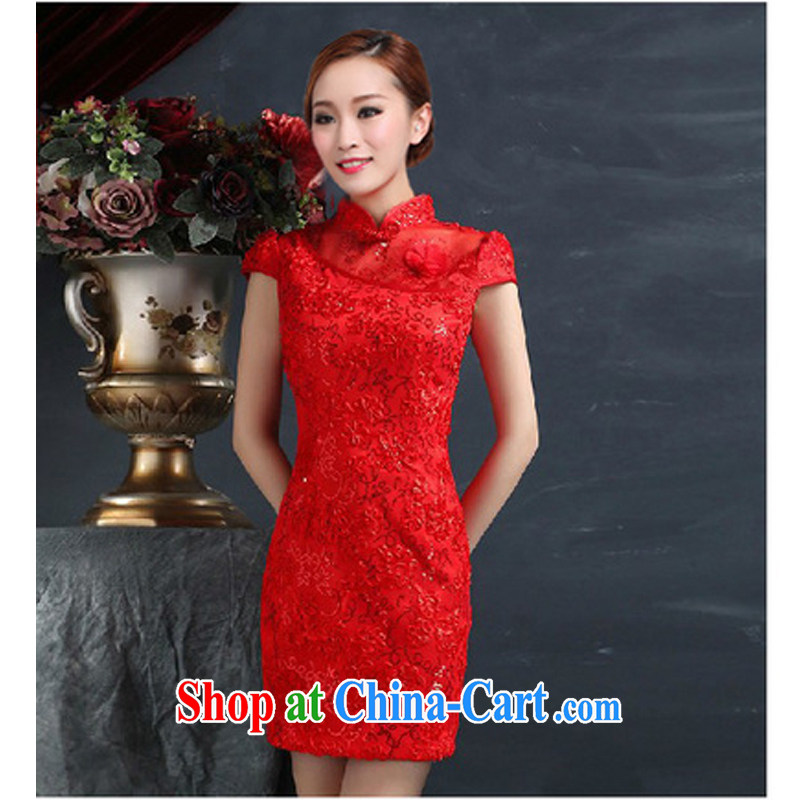 Red bridal dresses wedding toast clothing retro embroidery take short improved cheongsam-Noble dresses red XL