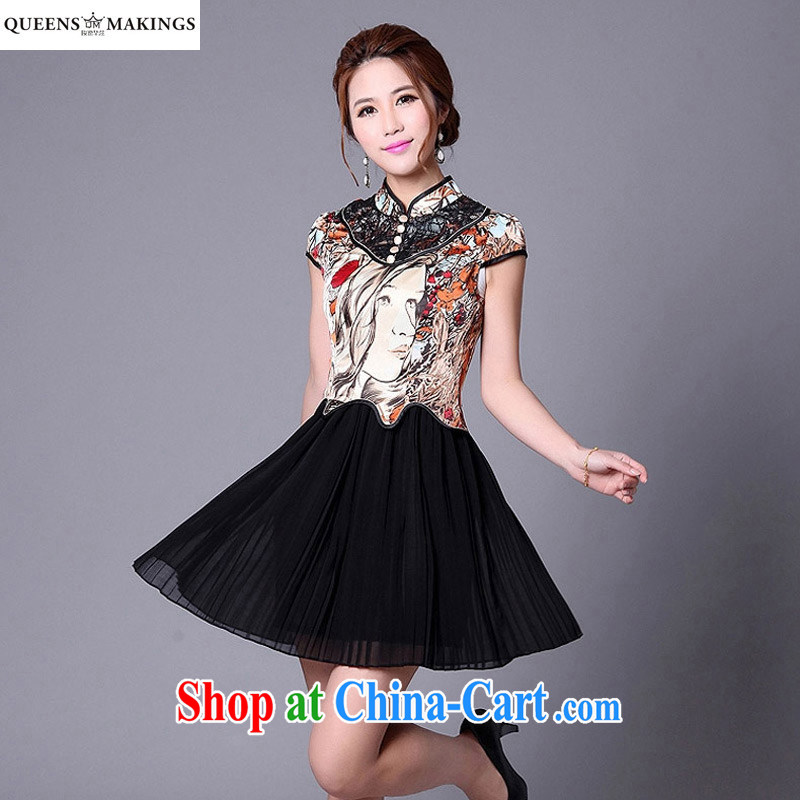 2015 summer cheongsam dress Stylish retro improved short-sleeved stitching abstract pattern cheongsam dress A 013 341 1 suit XL