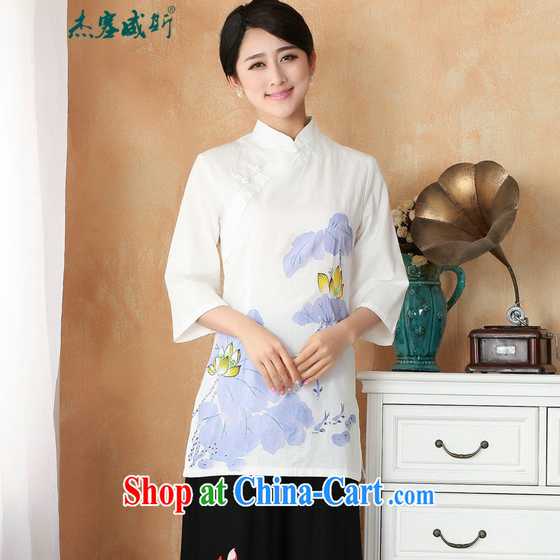 Jessup, new improved summer cotton the larger hand-painted T-shirt Chinese lady Han-Chinese shirt M 2393 white purple XXL