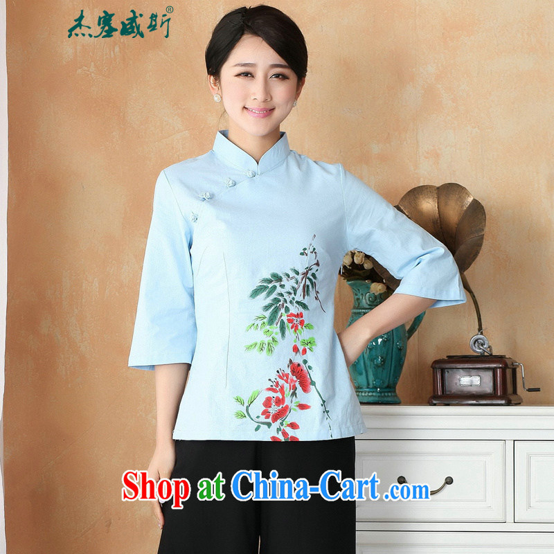 Jessup, new, improved, for cotton the larger Han-Chinese shirt, hand-painted Chinese Chinese T-shirt M 2395 blue S
