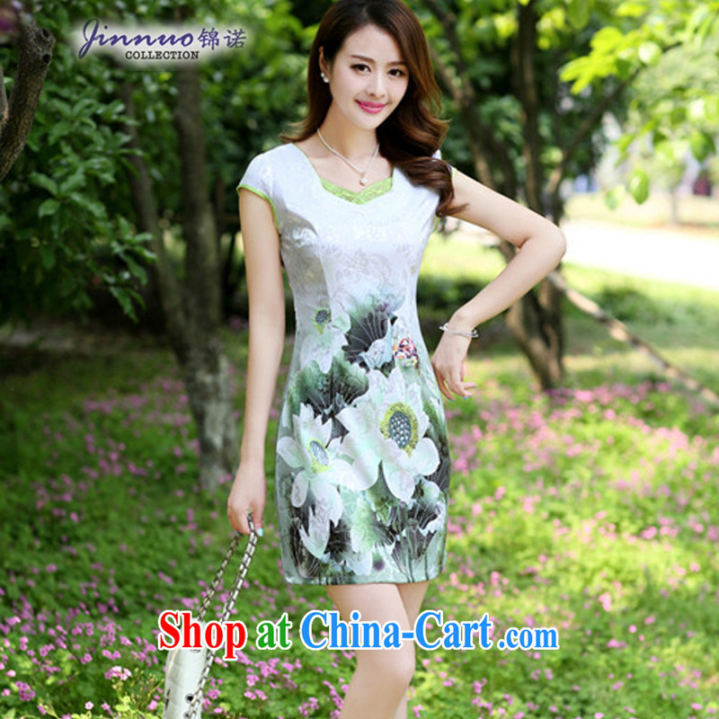 Lady elegance beauty graphics thin 2014 New China wind retro Lotus pattern dresses qipao improved daily T-shirt short skirt Green lotus XL