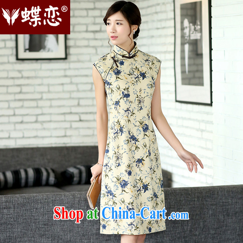 Butterfly Lovers 2015 spring new Ethnic Wind improved hand-tie the side on the truck sleeveless linen cloth robes skirts 45,013 pen health spend XXL