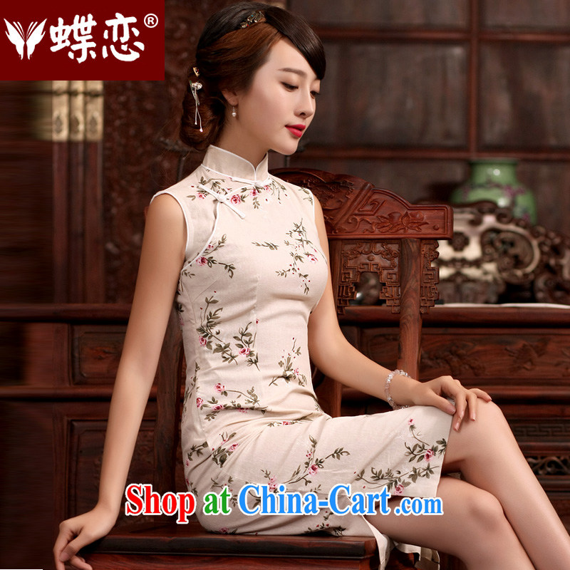 Butterfly Lovers spring 2015 new units, Ms Audrey EU, for cultivating dresses linen-Tie Style improved long cheongsam 45,020 units Ms Audrey EU XXL
