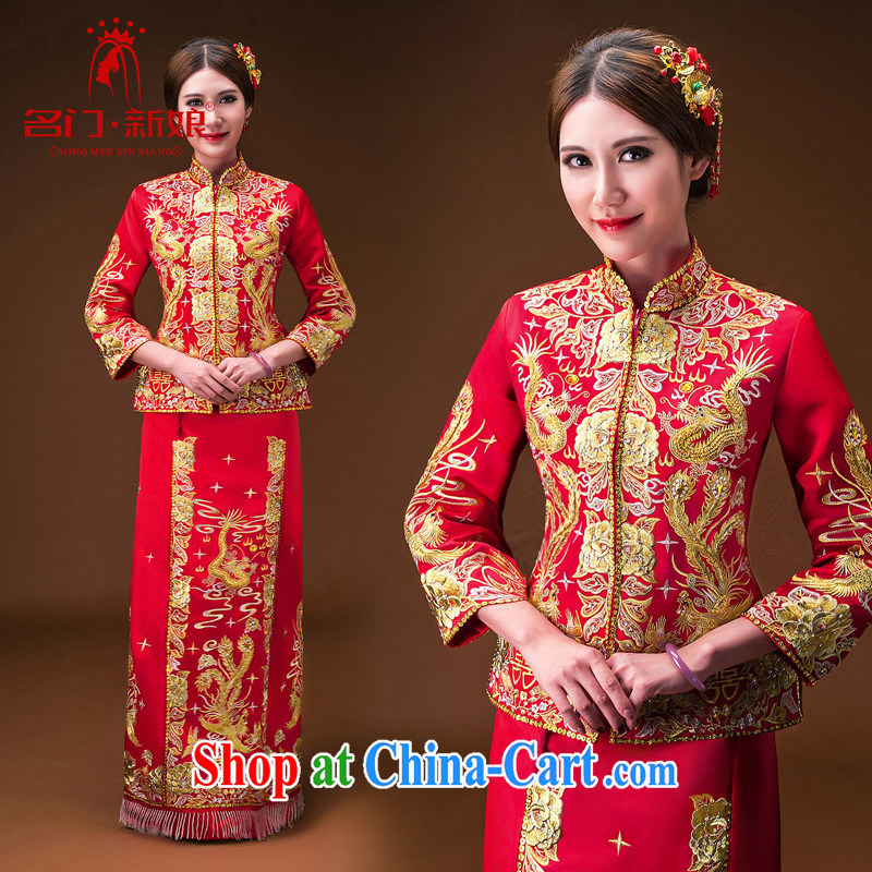 The bride's 2015 new show reel service use phoenix cheongsam marriage toast serving 115 red L