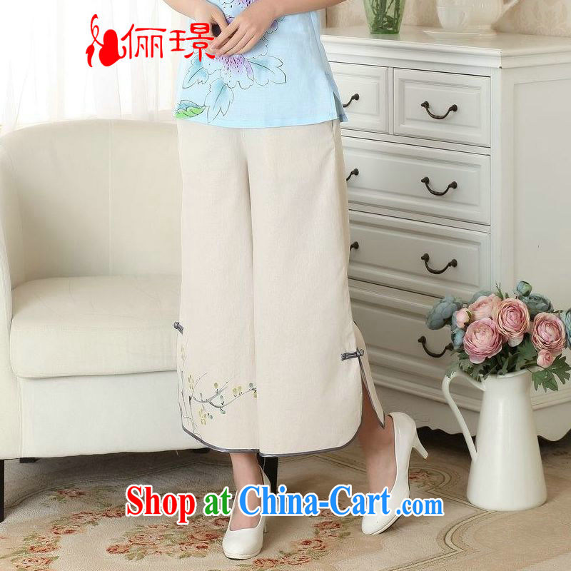 Jing An older children, Trouser Press Trouser press summer wear elastic waist cotton Ma hand-painted Tang pants MOM pants 9 pants ethnic wind widening and trouser press P 0012 M yellow L