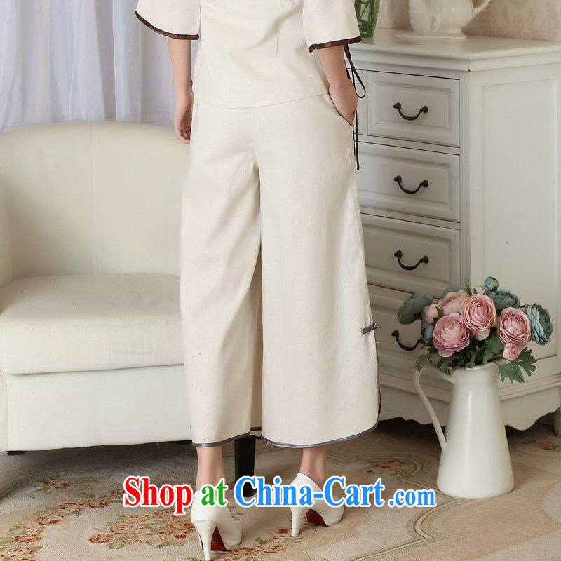 Jing An older children, Trouser Press Trouser press summer wear elastic waist cotton Ma hand-painted Tang pants MOM pants 9 pants ethnic wind widening and trouser press P 0012 M yellow L, an Jing, online shopping