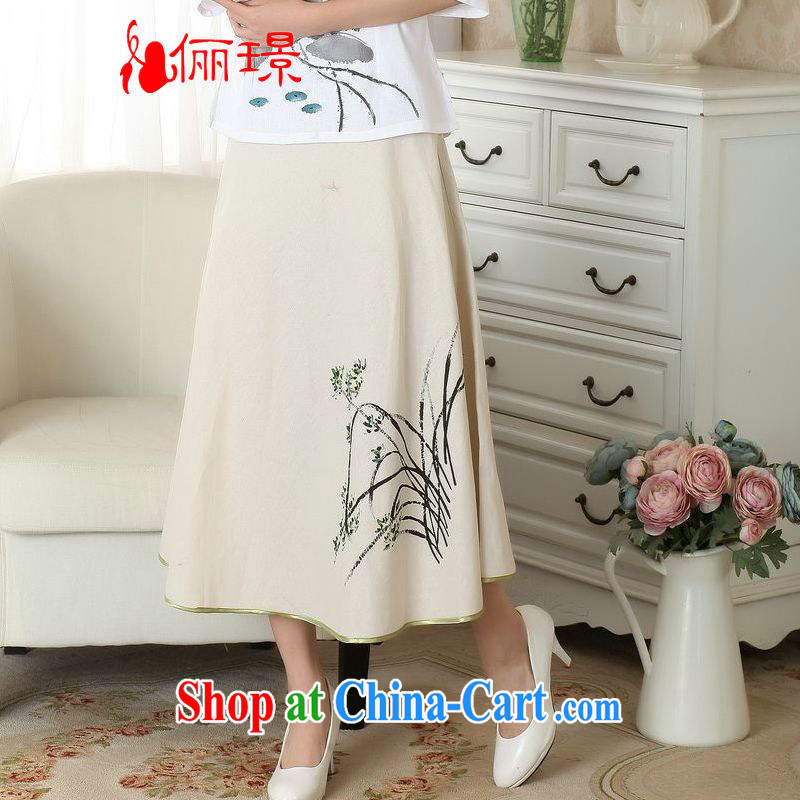 To facilitate payment Miss Au summer new skirt summer dress new 100 ground National wind cotton Ma hand-painted body skirt girls A field skirt P 0011 photo color XL