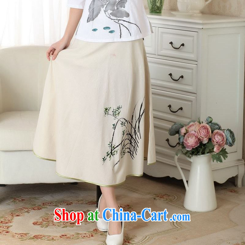 To facilitate payment Miss Au King summer new skirt summer dress New Section 100 a National wind cotton Ma hand-painted body skirt girls A field skirt P 0011 photo color XL, an Jing, and online shopping