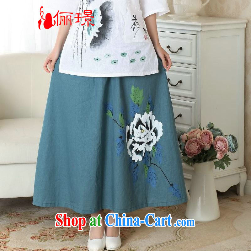 Jing An older skirt summer dress body cotton Ma hand painted ethnic wind load mother dress SH 146 photo color M