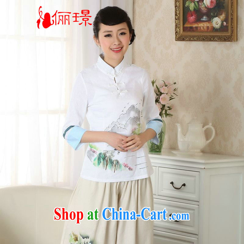 Allow Ms. Jing Tang Women's clothes summer T-shirt, cotton for the hand-painted Chinese Han-female improved Tang in A cuff 0060 white 2XL