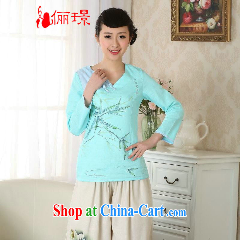 Allow Ms. Jing Tang Women's clothes summer V T-shirt collar linen hand-painted Chinese Han-female improved Tang in A cuff 0059 blue 2 XL _135 - 145 _ jack