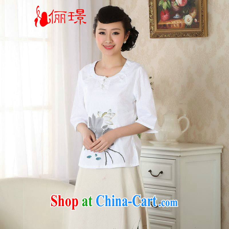Allow Ms. Jing Tang Women's clothes summer T-shirt cotton the hand-painted Chinese Han-female improved national wind A cuff 0058 white 2XL _recommendations 150 - 160 jack_