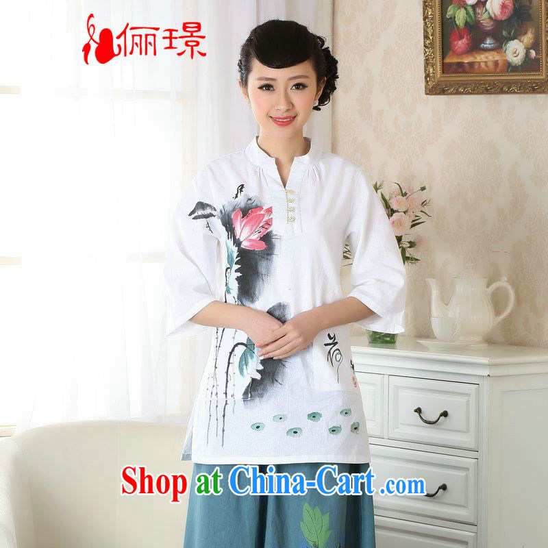 Allow Ms. Jing Tang Women's clothes summer T-shirt, cotton for the hand-painted Chinese Han-female improved Tang in A cuff 0057 white 3XL _160 - 165 _ jack