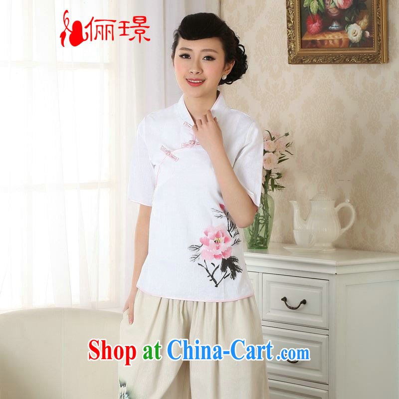 Allow Ms. Jing Tang Women's clothes summer wear T-shirt, cotton for the hand-painted Chinese Han-female improved Tang replace short-sleeved A 0056 white 2XL (140 - 150 ) jack