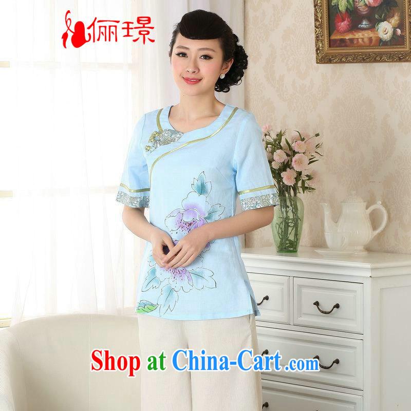 Allow Ms. Jing Tang Women's clothes summer T-shirt linen hand-painted Chinese Han-female improved Tang replace short-sleeved A 0055 light blue 2 XL _135 - 145 _ jack