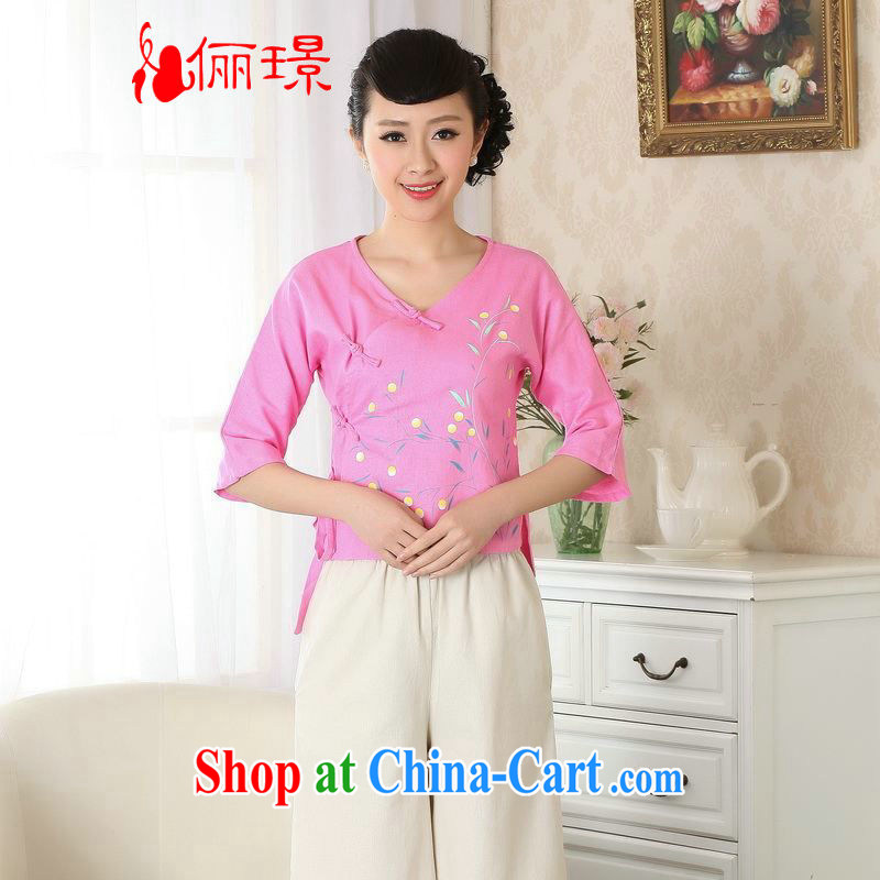 Allow Ms. Jing Tang Women's clothes summer V T-shirt collar cotton the hand-painted Chinese Han-female improved Tang in A cuff 0053 deep pink 2 XL _145 - 150 _ jack