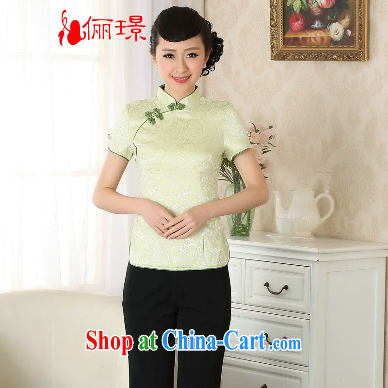 Allow Ms. Jing Tang Women's clothes summer wear T-shirt, for a hard-pressed the charge-back Chinese Han-female improved Tang replace short-sleeved A 0052 - A green L (recommendations 120 - 130 jack)