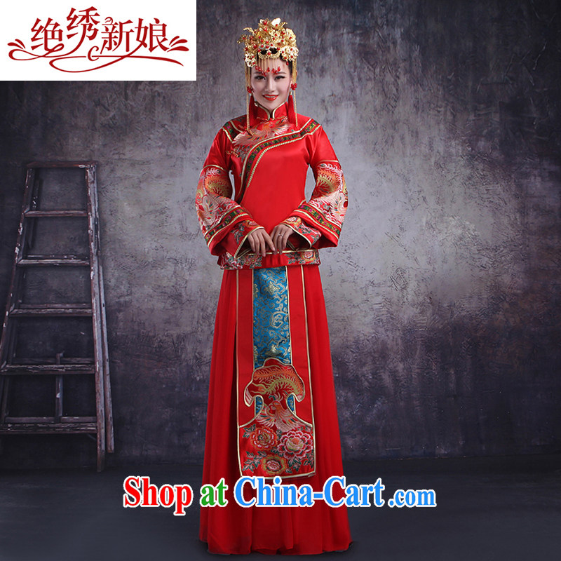 There is embroidery bridal 2015 new Chinese dragon also improved Su wo clothing cheongsam long serving toast married Yi costumes clothing cheongsam dress red XL Suzhou shipping