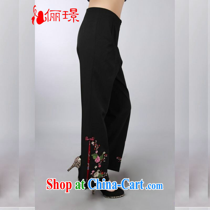 Jing An older children, Trouser Press Trouser Press spring and summer with the high waist embroidered short pants MOM pants trousers wide leg trousers XH P 146 0006 black 3 XL (2.7 feet)