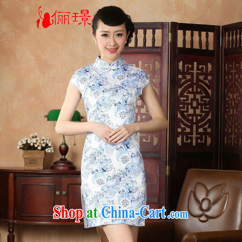 Miss Au contributed dresses summer improved retro dresses, for a tight hand-painted Chinese improved cheongsam dress short D 0229 - A White 2XL (120 - 130 ) jack