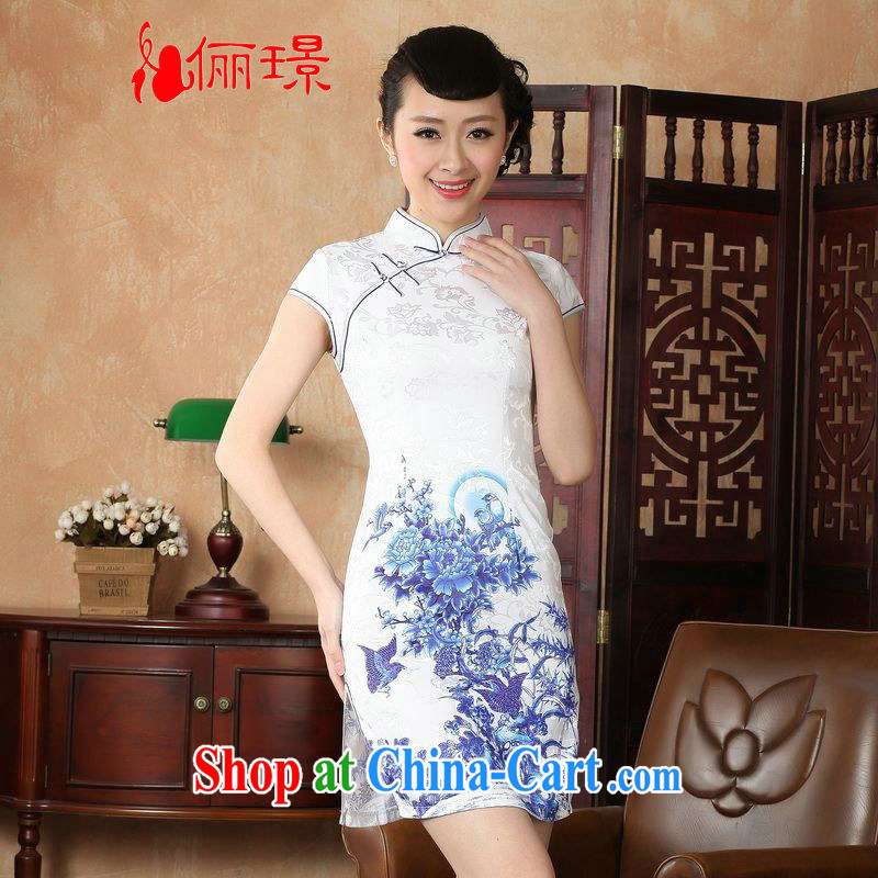 Miss Au contributed dresses summer improved retro dresses, for a tight hand-painted Chinese improved cheongsam dress short D 0228 - A White 2XL _120 - 130 _ jack