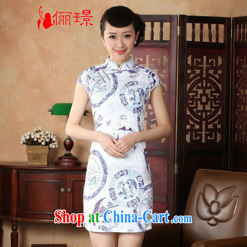 Jing An outfit summer improved retro dresses, for a tight hand-painted Chinese improved cheongsam dress short D 0226 white 2XL
