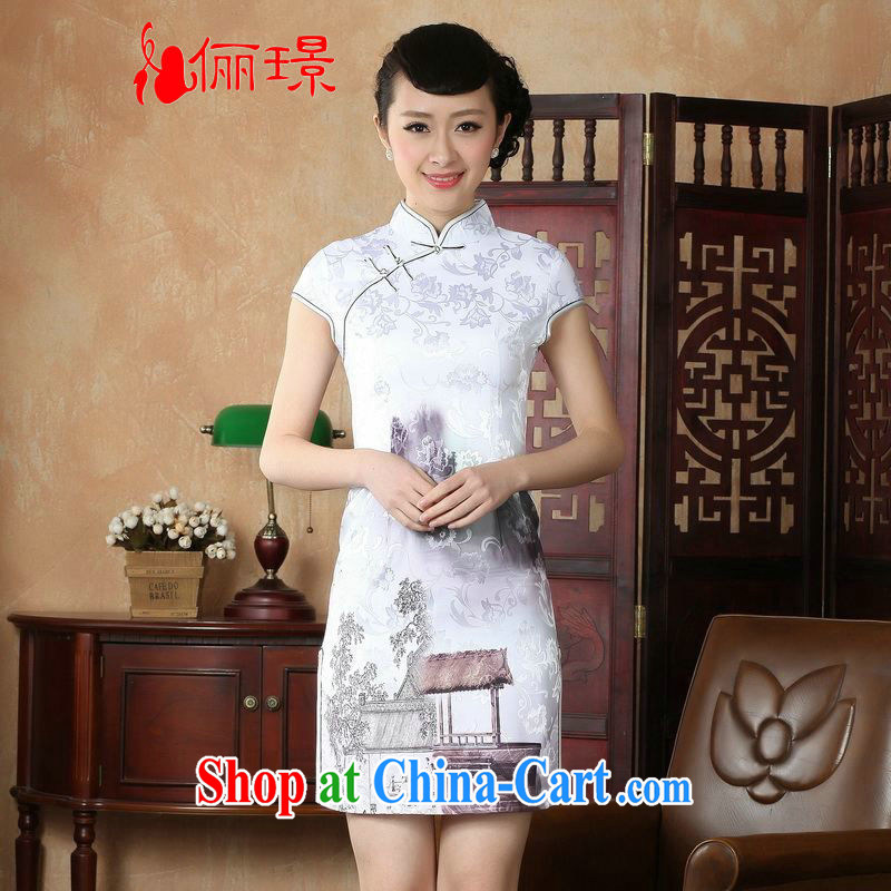 Miss Au contributed dresses summer improved retro dresses, for a tight hand-painted Chinese improved cheongsam dress short D 0227 white 2XL (recommendations 120 - 130 jack)