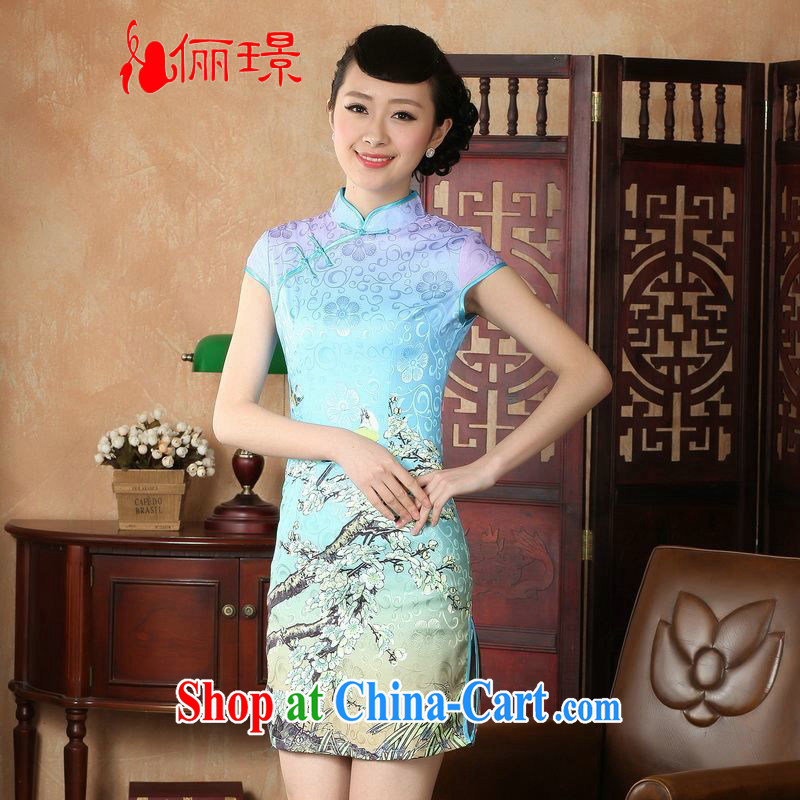 Miss Au contributed dresses summer improved retro dresses, for a tight hand-painted Chinese improved cheongsam dress short D 0225 - A Hu, 2 XL _recommendations 120 - 130 jack_
