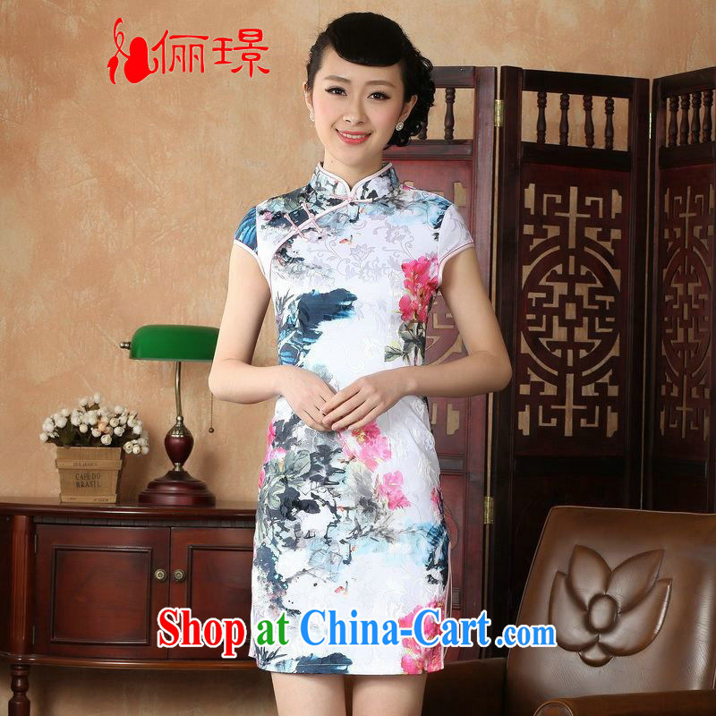 Miss Au contributed dresses summer improved retro dresses, for a tight hand-painted Chinese improved cheongsam dress short 0024 white 2XL (recommendations 120 - 130 jack)