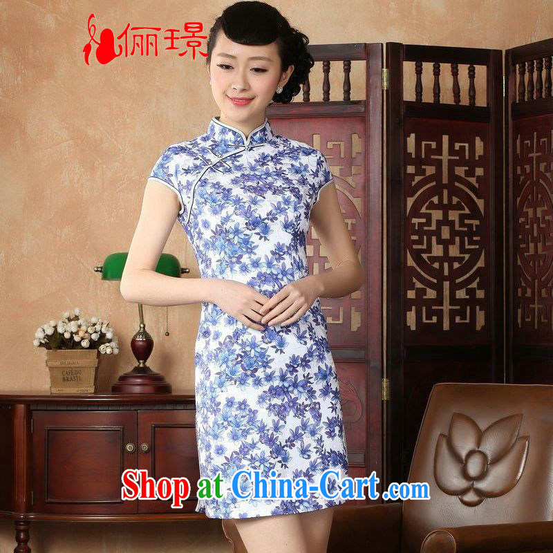 Miss Au contributed dresses summer improved retro dresses, for the hard-pressed Chinese improved cheongsam dress short 0023 Blue on white 2 XL _recommendations 120 - 130 jack_