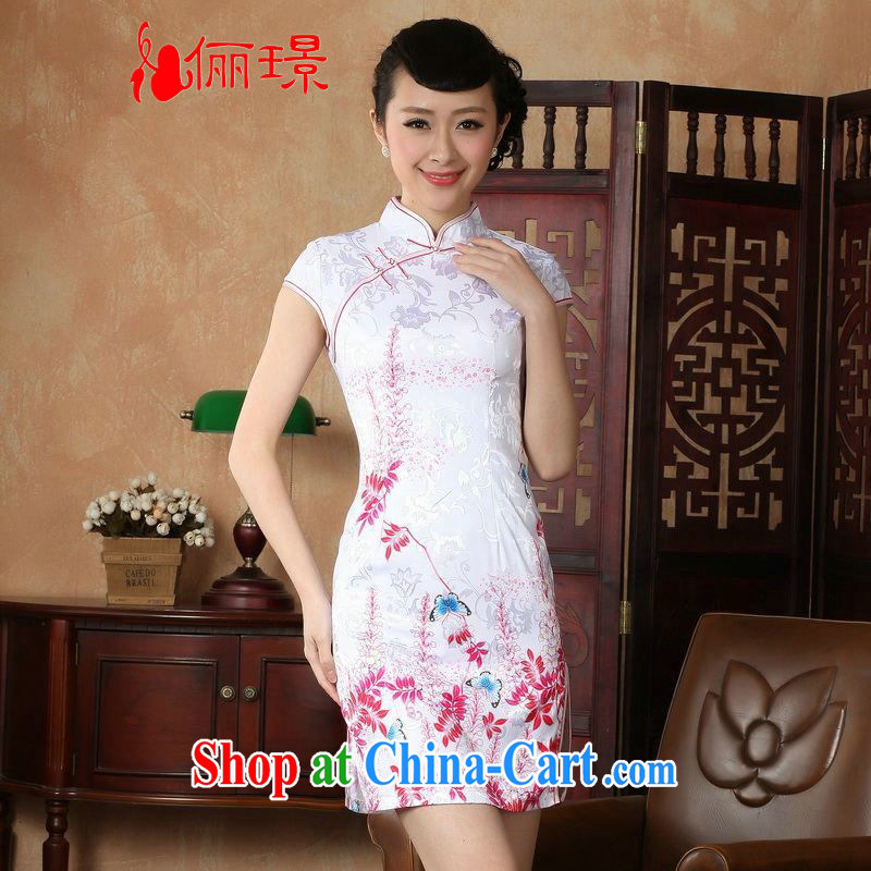 Jing An outfit summer improved retro dresses, for pure cotton hand-painted Chinese improved cheongsam dress short 0222 white 2XL _120 - 130 _ jack