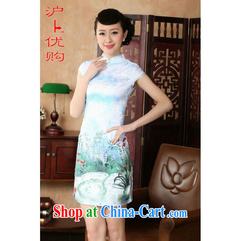 Shanghai, optimize purchase cheongsam dress summer improved retro dresses, for a tight cotton stamp Chinese improved cheongsam dress short D 022-A white 2XL recommendations 120 - 130 jack