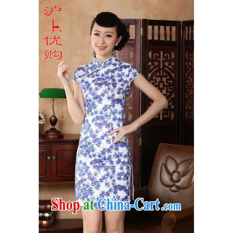 Shanghai, optimize purchase cheongsam dress summer improved retro dresses, for a tight cotton stamp Chinese improved cheongsam dress short blue on white 2 XL recommendations 120 - 130 jack