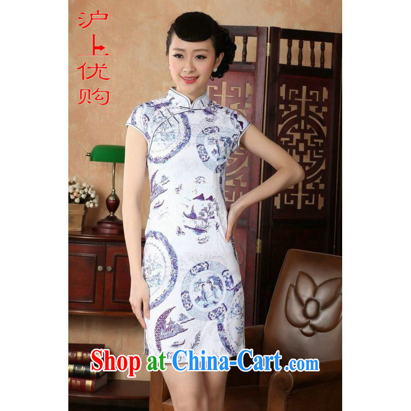 Shanghai, optimize purchase cheongsam dress summer improved retro dresses, for a tight cotton stamp Chinese improved cheongsam dress short D 0226 white 2XL recommendations 120 - 130 jack