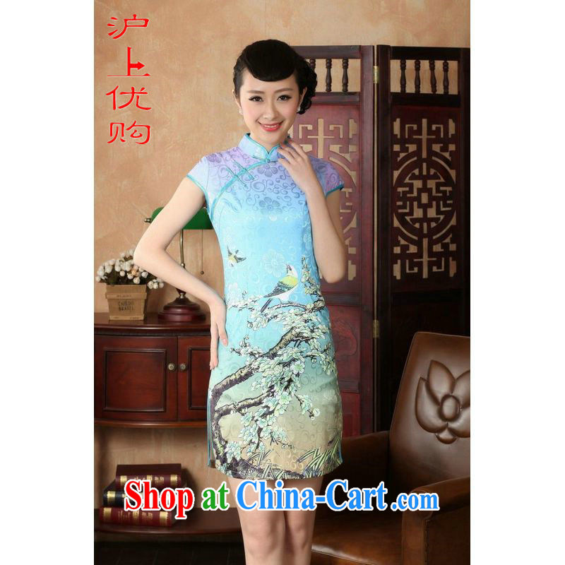 Shanghai, optimize purchase cheongsam dress summer improved retro dresses, for a tight cotton stamp Chinese improved cheongsam dress short D 022-A Hu, 2 XL recommendations 120 - 130 jack