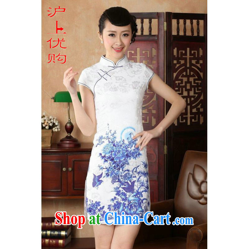 Shanghai, optimize purchase cheongsam dress summer improved retro dresses, for a tight cotton stamp Chinese improved cheongsam dress short D 02-A white 2XL recommendations 120 - 130 jack