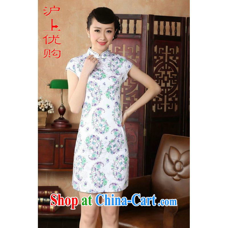 Shanghai, optimize purchase cheongsam dress summer improved retro dresses, for a tight cotton stamp Chinese improved cheongsam dress short D 0229 white 2XL recommendations 120 - 130 jack