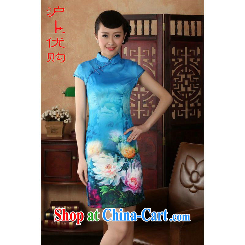 Shanghai, optimize purchase dresses summer improved retro dresses, for a tight silk hand-painted Chinese improved cheongsam dress short D 0231 Lake blue 2 XL